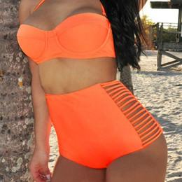 Argentina Neon Coral Orange Bikini Bustier Top Bikini de talle alto Spandex Bragas traje de baño Mujeres Side Slits Vendaje traje de baño S M L XL cheap orange high waisted swimsuit Suministro