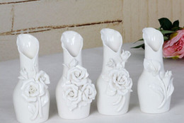 Wholesale Beautiful Flower Vases - 10Pcs lot Beautiful flower White Ceramics Vases Artifical Flower Vase Ostrich Feather Vase for wedding decoration free shipping