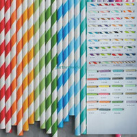 Wholesale Drinking Straws Dotted - Wholesale - Via Fedex EMS, Stripe Paper Drinking Straws Polka Dot Chevron Star For Party Decoration mixed Colors, 10000PCS