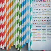 Wholesale Polka Dots Paper Straws - Wholesale - Via Fedex EMS, Stripe Paper Drinking Straws Polka Dot Chevron Star For Party Decoration mixed Colors, 10000PCS