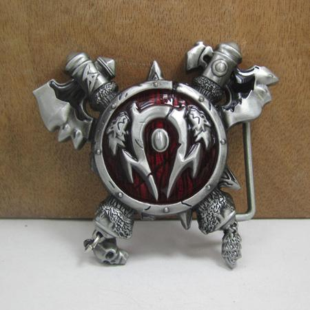 BuckleHome World of Axes and Shield belt buckle with pewter finish FP-03348 suitable for 4cm wideth belt free shipping