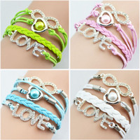 Wholesale Diamante Bracelets - NEW 2014 Multi Layers Infinity Bracelets with diamante rhinestone Braided Leather Handmade Pattern Charm Bracelet Charm Leather Bracelet