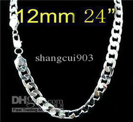 Wholesale 925 Silver Chains Long - Hot selling 925 silver curb chain necklace with long clasp 12mm 24inch brand new