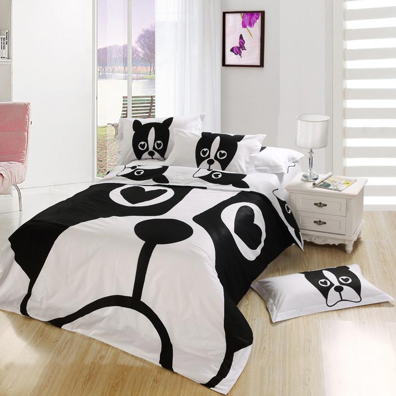 Black And White Dog Print Kids Cartoon Bedding Comforter Bedroom Sets King  Queen Full Twin Size Bedspread Bed Sheets Duvet Cover Home Texile Brown  Duvet ...