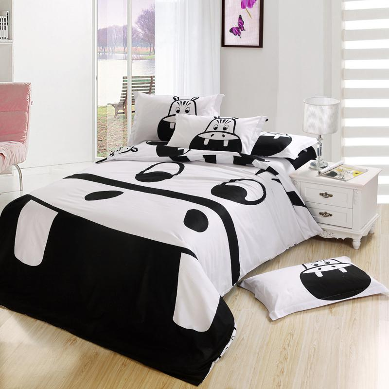 Black And White Hippo Print Kids Cartoon Bedding Comforter Bedroom Set King Queen Full Twin Size Bedspread Bed Sheet Duvet Cover Cute Boys