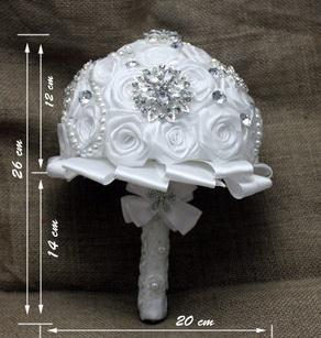 Wedding Bouquet White Flower Silver Button Handmade 2014 New Arrival