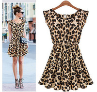 Wholesale Mini Sundresses Sale - New Ladie's Summer Dresses O-Neck Leopard Print Mini Casual Sundress Oversized Free Shipping Sexy Personality Hot Sale Fashion free shipping