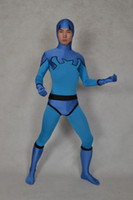 Wholesale Ted Costumes - Blue Beetle Ted Kord Version Spandex Superhero Costume Halloween Cosplay Party Zentai Suit