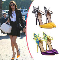 Wholesale Butterfly Print Dresses For Women - Hot Sale Brand Sophia Webster Cleo Sandals Genuine Leather Pumps Butterfly Ultra High Heel Sandals For Women Sexy Stiletto Shoes xz141