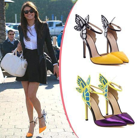 Hot Sale Brand Sophia Webster Cleo Sandals Genuine Leather Pumps Butterfly Ultra High Heel Sandals For Women Sexy Stiletto Shoes xz141