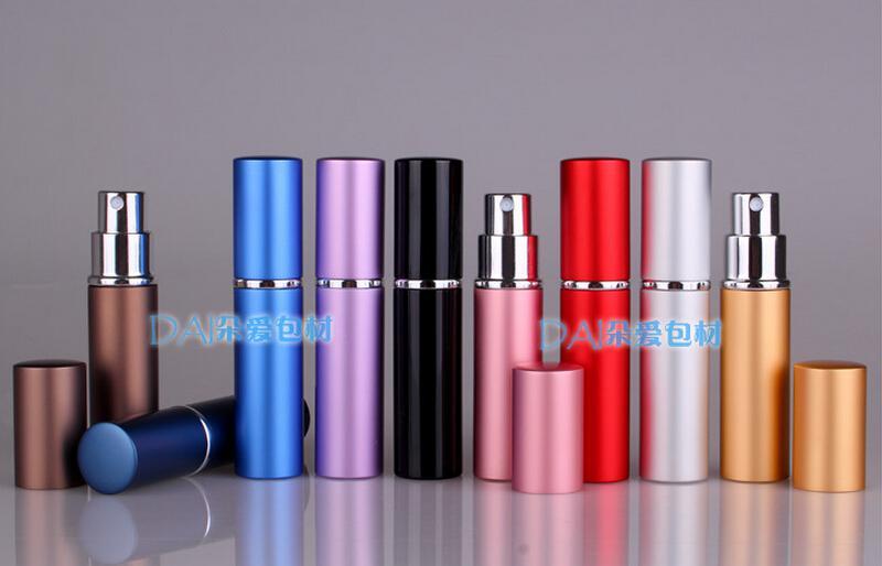 6ml Metall Aluminium Leere Glas Parfüm Flasche Reisen Flaschen Parfüm Zerstäuber Spray nachfüllbare Parfüm Flasche 9 Farben Freies Verschiffen
