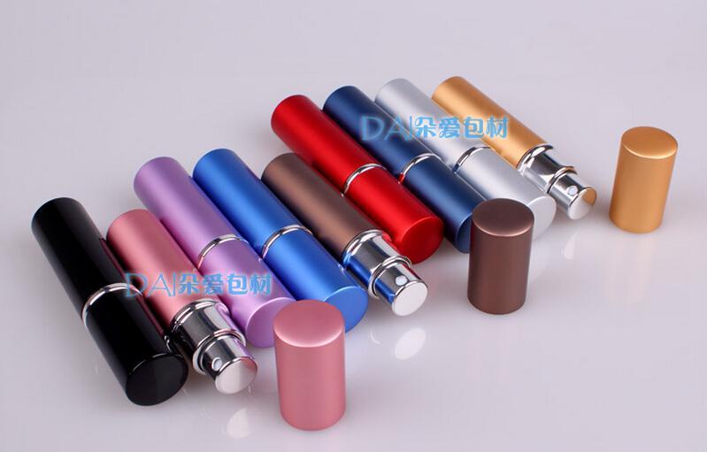 Portable Duftstoffflasche nachfüllbare Zerstäuber Metall Aluminium leer Parfüm Sprühflaschen Mini Travel Größe 6 ml Tragbare Sprühflasche