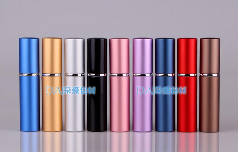 6ml metall aluminium tom glas parfymflaska resa flaskor parfymfördelare spray återfyllningsbar parfymflaska 9 färger gratis frakt
