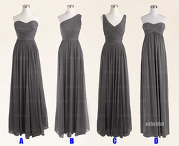 grey short chiffon bridesmaid dresses Canada - Grey Cheap Bridesmaid Dresses A Line Long Formal Evening Gowns Zip Back Floor Length Chiffon Prom Dresses Under $100 Cheap In Stock