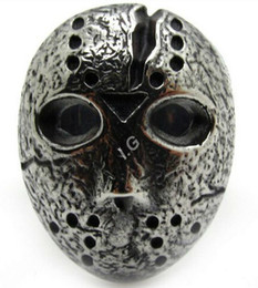 Wholesale Stainless Steel Mask - Men's Boy's Silver Finger Party Charm Jason Mask Stainless Steel Ring Free Shipping Wholesale