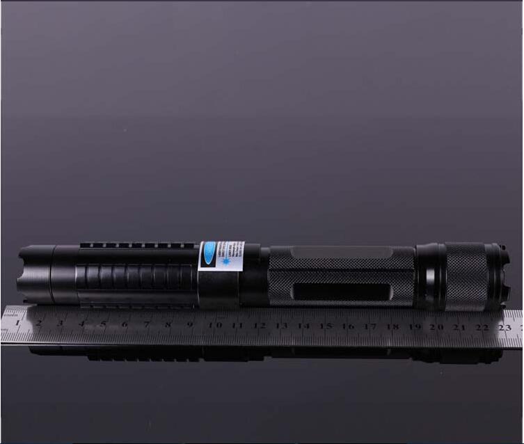 Professionell High Power Watt 5In1 450nm Stark kraft Militärblå Laserpekare SOS ficklampor Lazer HuntingTeaching + Laddare + Presentförpackning