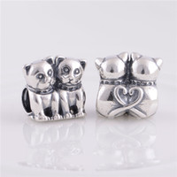 Wholesale Stopper Cat - 925 Sterling Silver beads fit pandora bracelets jewelry Authentic New Cats Screw Core Stopper Charm ,DIY making With european Women Bracelet