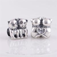 perlas de núcleo de tornillo al por mayor-925 Sterling Silver beads fit pandora pulseras jewelry Authentic New Cats Screw Core Stopper Charm, fabricación de DIY con mujeres europeas Pulsera