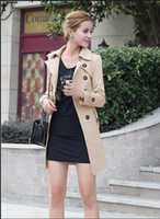 Wholesale Medium Long Dresses - new Spring Autumn Women Outwear Medium-long trench coats sashes thin women casual dress coat S-XXL