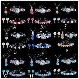 Wholesale Crystal Ball Bracelet Watch - Luxury Mixed Color Shamballa Jewelry Set Crystal Disco Ball Bracelets Necklace Pendant Stud Earrings Watch Bracelet sets