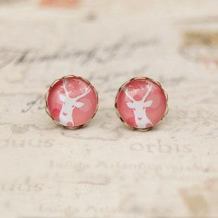 Розовый тон Белый Олень серьги античные серьги для девушки 10 мм rd038