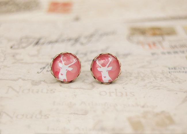 Boucles d'oreilles antiques de boucle d'oreille de cerfs blancs de ton de rose pour la fille 10mm rd038