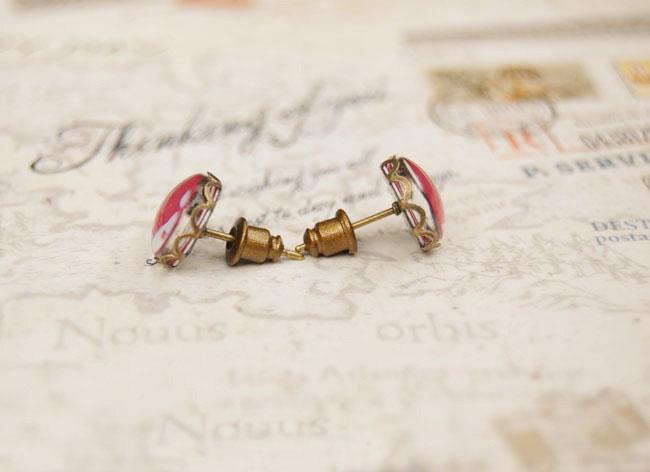 Pink Tone White Deer Stud Earrings Antique Earrings for Girl 10mm rd038