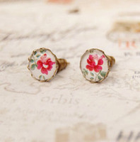 Wholesale Fashion For Friends - Vintage Flower Stud Earrings Fashion Floral Printed Ethnic Earrings Best Gifts for Friends 10mm rd039