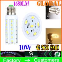Wholesale cheap wholesale bulbs - Cheap 10X E27 Led Light Led corn Lamp 10W Led bulb E14 B22 5630 SMD 42 LEDs 1680LM Warm cool White Home Lights Bulbs 110V - 130V 220V - 240V