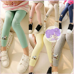 Wholesale Embroidered Leggings - spring autumn girls Embroidered birds leggings korean new fashion pants character full length