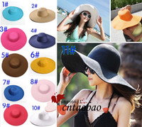 Wholesale Women Newsboy Cashmere - women Wide Large Floppy Brim Summer Beach Sun Straw Beach Derby Hat Cap Packable Flexible