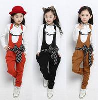 tulum tarzı moda toptan satış-İlkbahar sonbahar yeni kore tarzı moda kızlar yay ile setleri çocuk prenses iki parçalı tulum çocuklar ceket nokta freeshipping