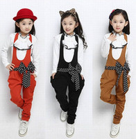 Wholesale Two Girls Overalls - spring autumn new korea style fashion girls sets with bow childrens The princess two-piece overalls kids coat dot freeshipping