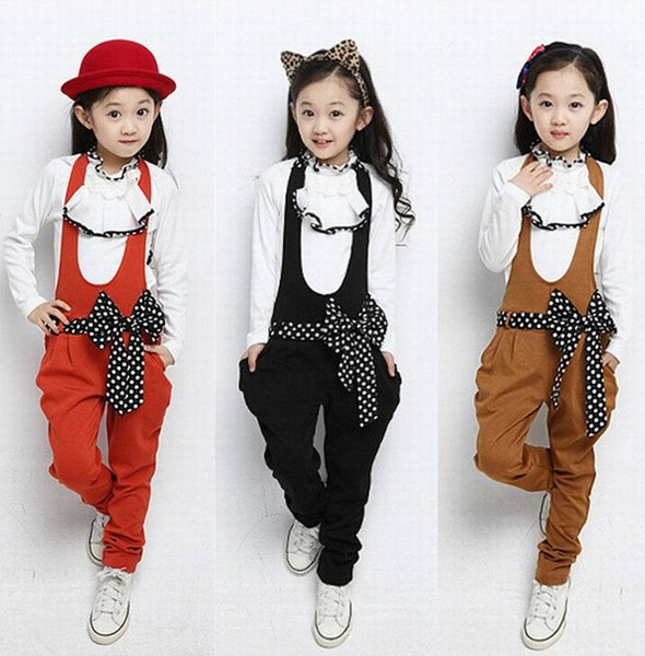 primavera otoño nuevo estilo de corea niñas de moda conjuntos con niños arco La princesa de dos piezas monos niños abrigo punto envío gratuito
