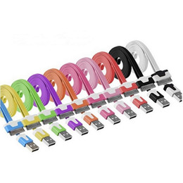 Wholesale Iphone Flat Usb Cable - Mobile phone Cable 1M 3FT Micro V8 USB Cable Flat Sync Noodles Data Sync Charging Cable for Mobile cell phone 500pcs