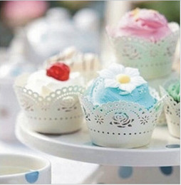 Wholesale Wholesale Plastic Cake Box - New Laser Cut Filigree Cupcake Wrapper Around The Edges Cake Liners Decorating Box For Wedding Baby Shower Favor Supplies 200 Design