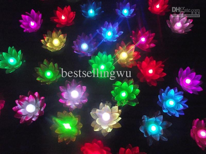 Diametro di 19 cm LED Fiore di loto in Colorful Changed Galleggiante Acqua piscina Lampade Wishing Light Lanterne la decorazione del partito