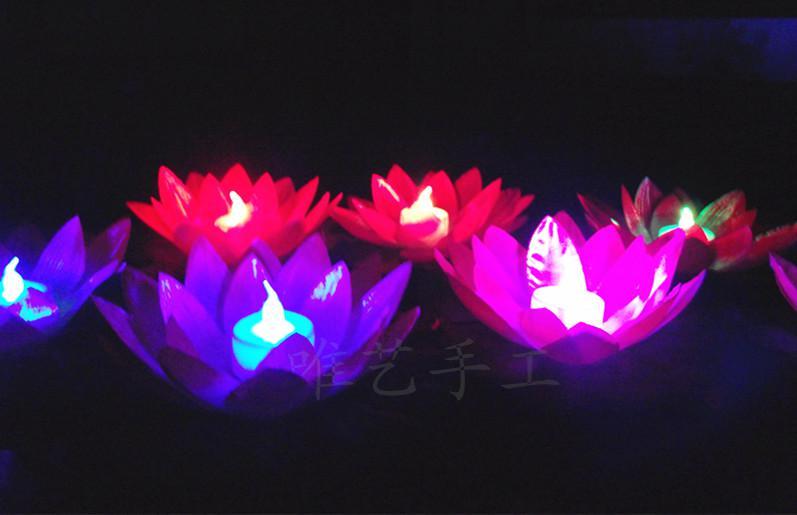 قطر 19 سم زهرة لوتس LED في بركة سباحة عائمة ملونة ومغيّرة بالألوان المائية تمنى مصابيح الفوانيس لتزيين الحفلات