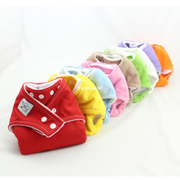 Wholesale Cloth Diapers Snap Inserts - New One Size Cloth Snap Diapers 2PCS Reusable Washable Cloth diaper Nappy covers 9Colors+8PCS insert