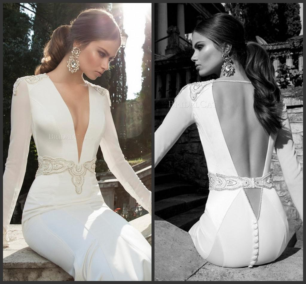 2014 Glorious Vintage Low Cut Sexy V Neck Beads Sash Backless ...