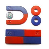wissenschaft experimente kits großhandel-Großhandel 1 satz Magnet Kit für Bildung Wissenschaft Experiment Inkludieren Hufeisen Bar Magnet Ring Magneten Kompass und Werkzeuge