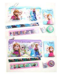 Wholesale Doll Eraser - Wholesale!80 set !Frozen princess doll pattern stationery set school supplies pencil case ruler sticker eraser kid gift