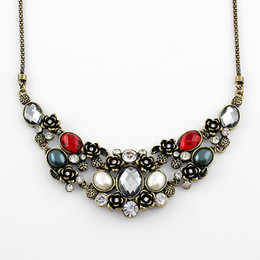 Wholesale Unique Chokers - Cristmas Gift Fashion Jewelry Luxury Unique Graceful Colorful Shiny Colorful Rhinestone Choker Necklace For bijoux Women