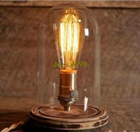 Wholesale Bell Jars - Glass Dome Bell Jar Desk Lamp Wooden Base Stonehill Design Edison Table Lamp