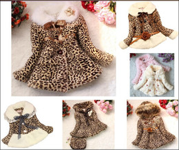 Wholesale Brown Fox Fur Collar - Retail Girls Leopard faux fox fur collar coat clothing with bow Spring Autumn Winter wear Clothes baby Children outerwear Kids Gilr Jacket
