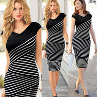 Wholesale Dreess Woman - New Women's Stripe Dreess V Neck Short Sleeve Parthwork Europe Fashion OL Evening Party Slim Bodycon Casual Dress Lady's Pencil Dress