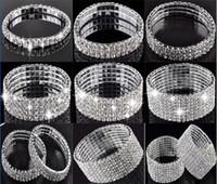 Wholesale Stainless Bangle Cz Bracelet - 1-10 Rows Rhinestone Austria CZ Bracelets Crystal Wedding Bride Stretchy Bangle Wristband Jewelry Bracelet Free [B414A-B615*1]