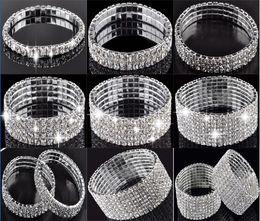 Wholesale Stainless Steel Jewelry Cz Bracelets - 1-10 Rows Rhinestone Austria CZ Bracelets Crystal Wedding Bride Stretchy Bangle Wristband Jewelry Bracelet Free [B414A-B615*1]