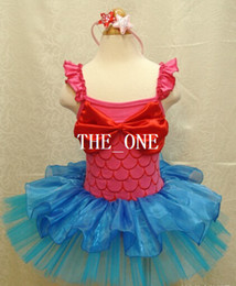 Wholesale Big Bow Mini Dress - girls kids clothes summer girls ballet tutu dance Halloween Mermaid fancy Special costume party dress with ruffles shoulder big red bow