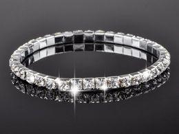 Wholesale Crystal Single Row Bracelet - Hot sale Full Crystal single row of rhinestones stretch bracelets crystal bracelets jewelry Free Ship [B417A*16]